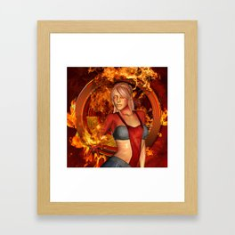 The awesome fire girl , fire on the background Framed Art Print