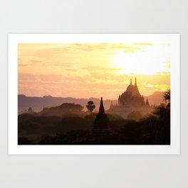 Sunset Pagoda   Temples of Bagan   Myanmar Travel Photography Art Print