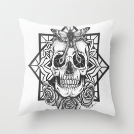 Skull and Roses Throw Pillow