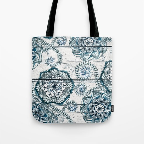 Navy Blue Floral Doodles on Wood Tote Bag