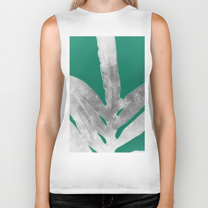Christmas Fern, Holiday Green with Silver Winter Leaf Biker Tank