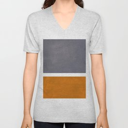 Grey Yellow Ochre Rothko Minimalist Mid Century Abstract Color Field Squares Unisex V-Neck