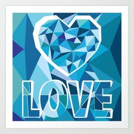 Poligon Love Blue Art Print