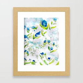 Blue n Drippy Flowers Framed Art Print