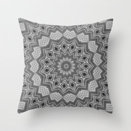 Shades of Grey and Black Mandala Kaleidoscope A128B Throw Pillow