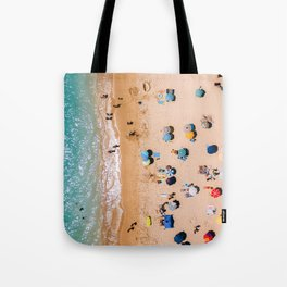 People On Algarve Beach In Portugal, Drone Photography, Aerial Photo, Ocean Wall Art Print Tote Bag