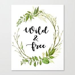 Wild And Free Leaf Print Canvas Print