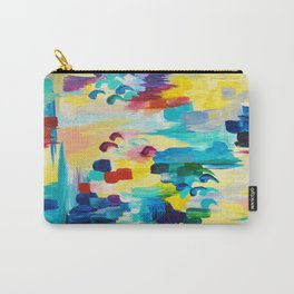 DONT QUOTE ME Whimsical Rainbow Ikat Chevron Abstract Acrylic Painting Magenta Plum Turquoise Gift Carry-All Pouch