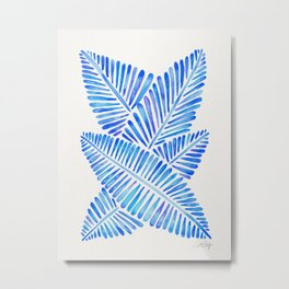 Tropical Banana Leaves – Blue Palette Metal Print