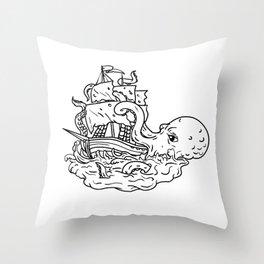 Kraken Attacking Sailing Ship Doodle Art Throw Pillow
