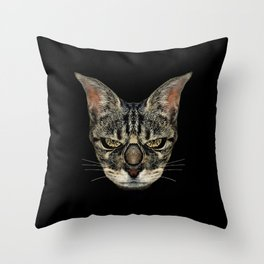 Angry Cyborg Cat  Throw Pillow