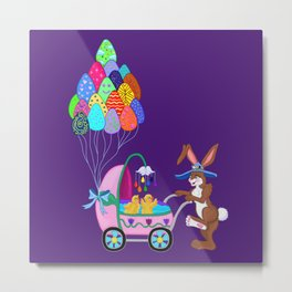 Easter Bunny and Chicks Baby Carriage Stroll Metal Print