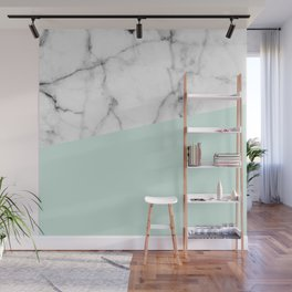 Real White marble Half pastel Mint Green Wall Mural