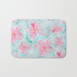 Hand painted teal fuchsia watercolor floral Bath Mat