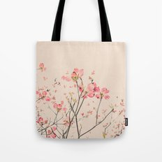 Vintage Spring Botanical, Peaches and Cream -- Pink Dogwood Flowers on Ivory Ground Tote Bag