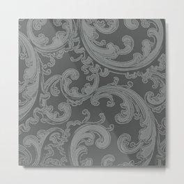 Retro Chic Swirl Neutral Gray Metal Print