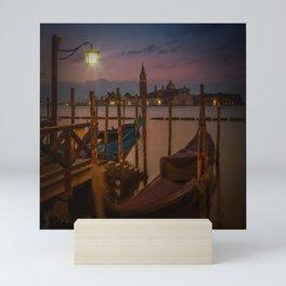 VENICE Gondolas during sunrise Mini Art Print