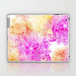 Pink orange botanical watercolor hand drawn floral pattern Laptop & iPad Skin