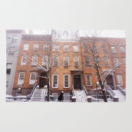 Snowy NYC Brownstone Street Rug