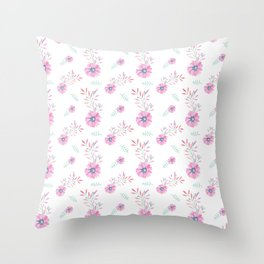 Pastel pink teal watercolor hand painted daisies floral Throw Pillow