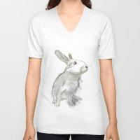 rabbit V-neck T-shirts featuring Rabbit by Melissa McGill