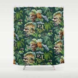 Mossy Forest Pattern Green Shower Curtain