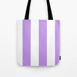 Wide Vertical Stripes - White and Light Violet Tote Bag