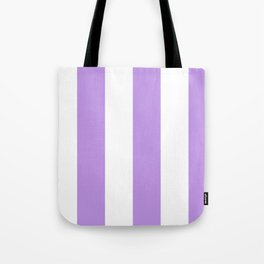 Wide Vertical Stripes - White and Light Violet Tote Bag