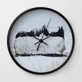 A horses snow day Wall Clock