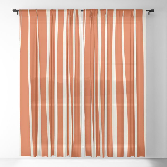 Vertical irregular stripes on orange Sheer Curtain