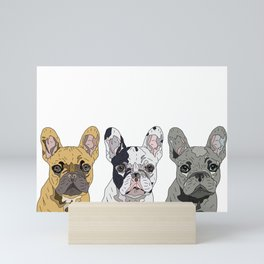 Triple Frenchies Mini Art Print