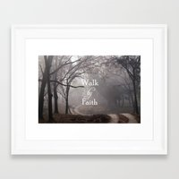 bible verse Framed Art Prints featuring Walk by Faith Bible Verse by Quote Life Shop
