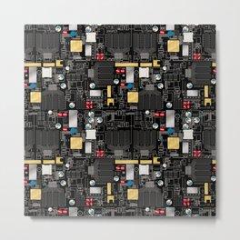 Black circuit board Metal Print