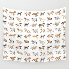 Horses - different colours and markings illustration Wall Tapestry