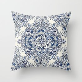 Floral Diamond Doodle in Dark Blue and Cream Throw Pillow