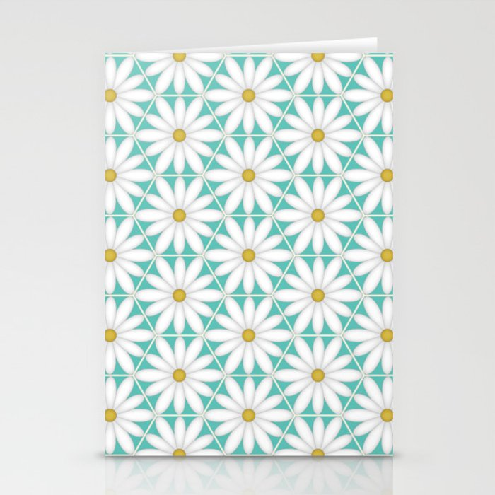 Daisy Hex - Turquoise Stationery Cards
