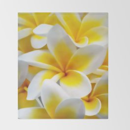 Frangipani halo of flowers Throw Blanket