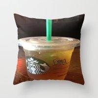 starbucks Throw Pillows featuring Starbucks Emma by Amanda Byrnes