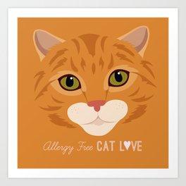 Allergy Free Cat Love: Ginger Tabby Art Print