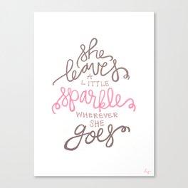 She Leaves A Little Sparkle -  Pink / Black Canvas Print