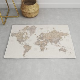 World map with cities in brown and light gray Rug