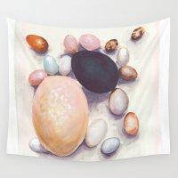eggs Wall Tapestries featuring Eggs by Bridget Davidson