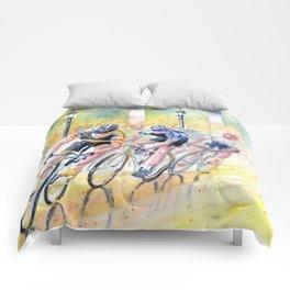 Colorful Bike Race Art Comforters