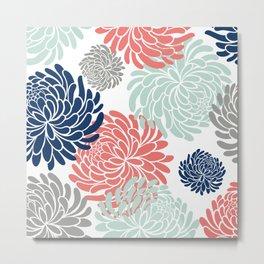 Floral, Chrysanthemums, Coral, Pink, Aqua, Navy, Blue Metal Print