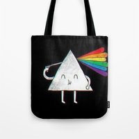 dark side of the moon Tote Bags featuring dark side of the moon by Iotara