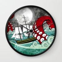 kraken Wall Clocks featuring Kraken by Beth Naeyaert