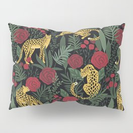 Roses In The Garden With Sensual Leopards Dark Background Pillow Sham