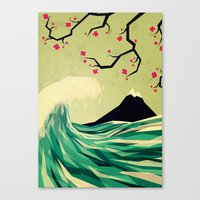 waves Canvas Prints featuring falling in love by Yetiland