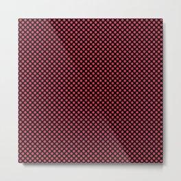 Black and Teaberry Polka Dots Metal Print