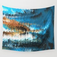 drums Wall Tapestries featuring Blue Forest Shades by Alix Rumble